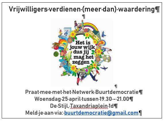 Reminder: Vanavond bijeenkomst Netwerk buurtdemocratie